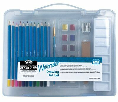 Royal Langnickel Watercolour Drawing Set - Sm Clear Case - Watercolour Pencils