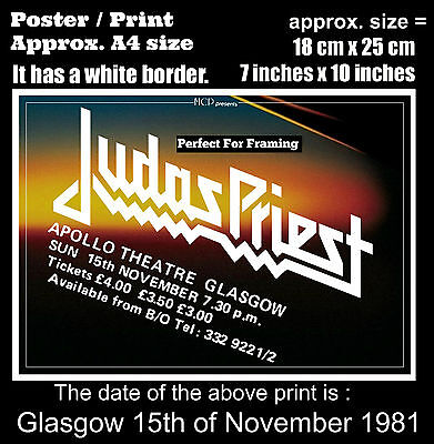 Judas Priest live concert Glasgow Apollo 15th November 1981 A4 size poster print