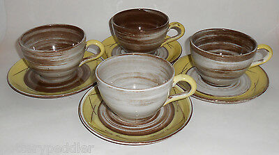 Santa Anita Pottery Yellow/Brown Swirls Set/4 Cup & Saucers!