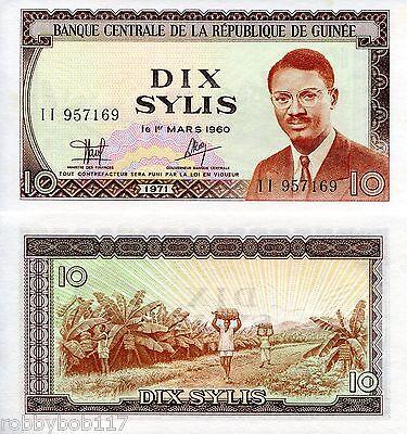 GUINEA 10 Sylis Banknote World UNC Currency Money BILL p10 Note Africa 1971