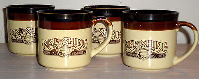 4 VINTAGE Diner Coffee Cups Mugs Rise and Shine Homemade Biscuits Hardee's
