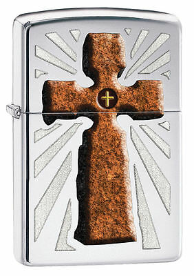 Zippo Windproof Stone Cross, High Polished Chrome Lighter,  # 28801, New In Box