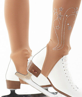 Fancy Stirrup Skating Tights With Crystal Trim Ice Or Roller Skating Boots