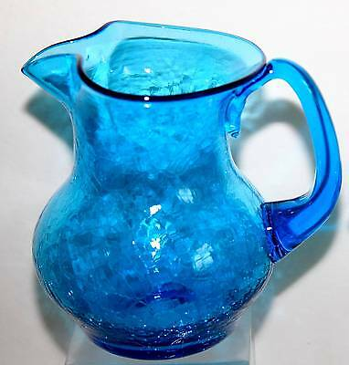 LARGE VINTAGE HAND BLOWN W/ PONTIL CRACKLE PITCHER-OCEAN BLUE PILGRIM- EXCELLAN