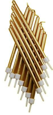 Gold Tall Birthday Cake Candles x 12