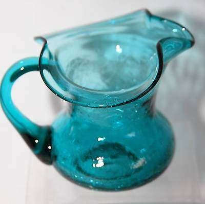 SMALL  VINTAGE HAND BLOWN W/ PONTIL CRACKLE PITCHER -TURQUOIS- PILGRIM- EXCELLAN