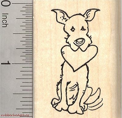 Valentine's Day Dog Rubber Stamp, Large Breed with Heart in Mouth  E27001 WM