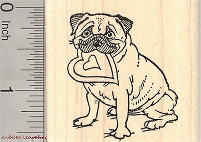 Valentine's Day Pug Rubber Stamp, Dog with Heart in Mouth  E27008 WM