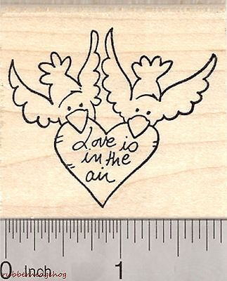 Valentine's Day Bird Rubber Stamp, with Heart, Love is in the Air  G27020 WM