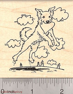 Valentine's Day Border Collie Rubber Stamp, Leaping Dog with Heart K27026 WM