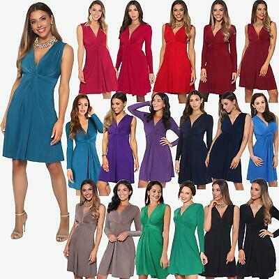 ac8f71c9260af Womens Ruched Twist Knot Front Low Cut V Neck Top Pleated Swing Dress Party