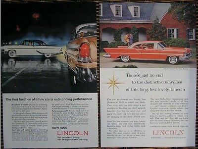 Vintage 1950s original print ads Ford Lincoln art deco retro atomic age groovy