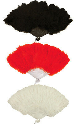 Quality Costume Soft Fluffy Feather Fan Burlesque Moulin Rouge Fancy Dress Party