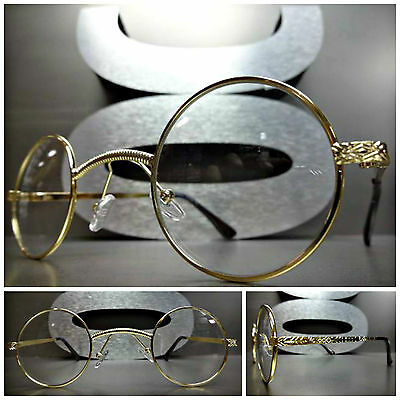 CLASSIC VINTAGE PROFESSOR Style Clear Lens EYE GLASSES Unique Round Gold Frame