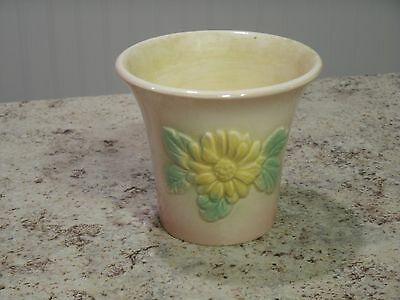 Vintage Mid Century Hull Pottery Flower Design Pink / Yellow Sunglow Planter