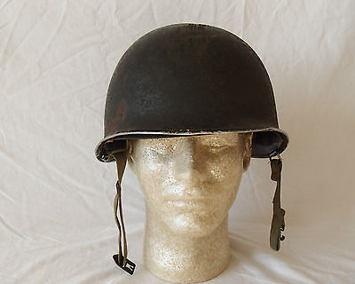 WW2 US Army Helmet front seam swivel bale with liner.