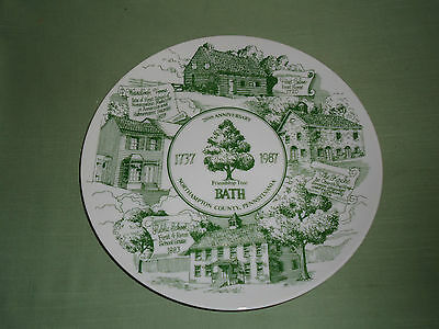 Bath, Northampton County, PA 1737-1987 250th Anniversary Souvenir Plate