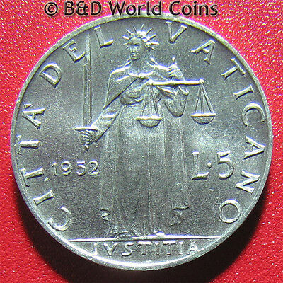 VATICAN CITY 1952 5 LIRE POPE PIUS XII 20mm ALUMINUM COLLECTABLE WORLD COIN