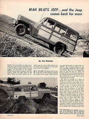 "1952 ERIC RICKMAN, TOM MEDLEY JEEP STATION WAGON REPORT, 3- 8"" X 11"" pages"