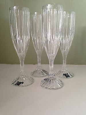 Mikasa Crystal Park Lane Set of 4 Fluted Champagne Glasses *NIB*
