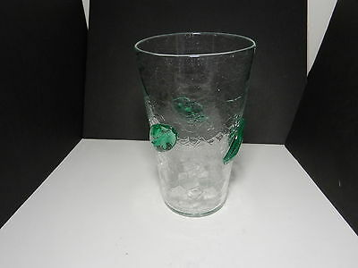 "Blenko Crackle Glass Large Vase w Attached Leaves Clear Green 10 1/4"" T ca 1953"