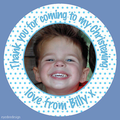 35 Personalised Christening Birthday Party Bag Picture Photo Stickers Labels 436