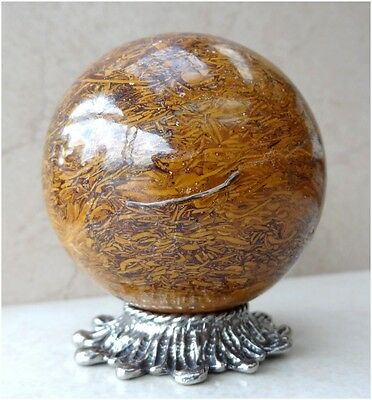 Natural MARIAM JASPER Crystal Gemstone SPHERE BALL 274 Grams + PEWTER STAND