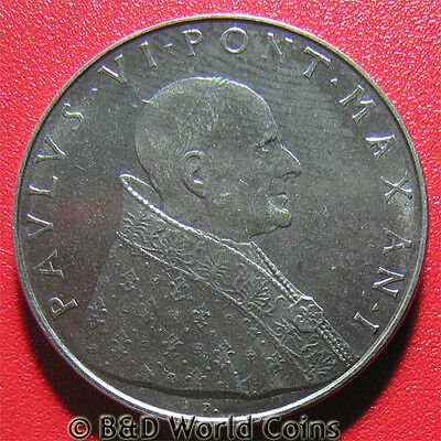 VATICAN CITY 1963 50 LIRE SPES PAUL VI STAINLESS STEEL COLLECTIBLE COIN 24.8mm