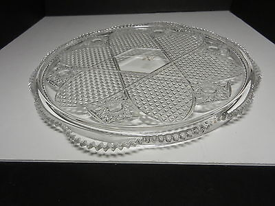 """Mikasa Walther Crystal West Germany Large Cake Plate Hob Stars Clear 13 3/4"""" D"""
