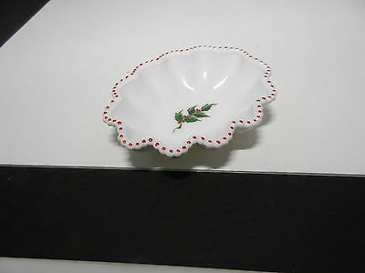 "Westmoreland Glass Beaded Edge Red Dots Holly Dec Oval Bowl 6 1/2"" L ca 1950 TM"