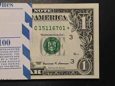 1999 STAR NOTE $1 Dollar Bill , Crisp, consecutive,uncirculated *GEM*