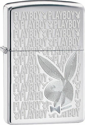Zippo Windproof High Polished Chrome Playboy Bunny Lighter, 28545, New In Box