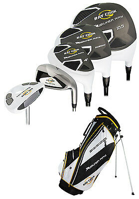 """New Ray Cook Golf Silver Ray Mens Complete Set With Bag PVD Finish +1"""" Extended"""