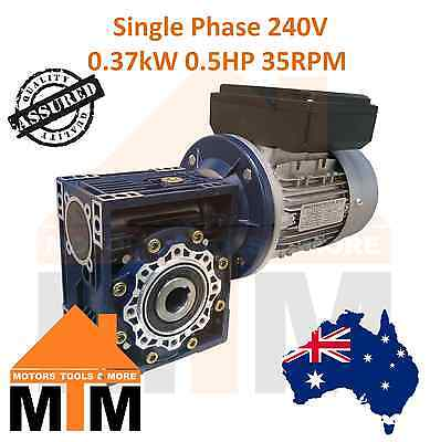 Single Phase 0.37kW 0.5HP 35rpm Type 50 Electric Motor & Worm Gearbox Drive i40