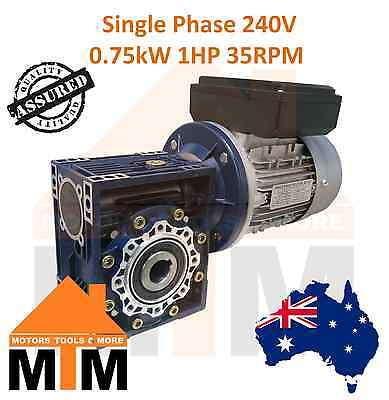 Single Phase 0.75kW 1HP 35rpm Type 75 Electric Motor & Worm Gearbox Drive i40