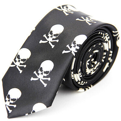 Unisex Novelty Skull Print Skinny Tie Black and White Brand New
