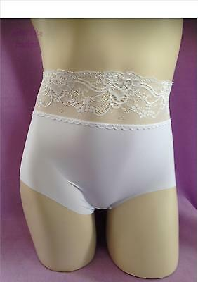 Ex store White Full Coverage High Rise  Lace Top NVPL briefs knickers - quality