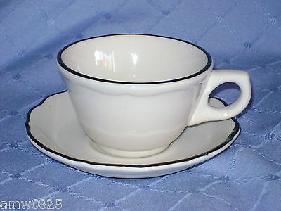 SYRACUSE CHINA BLACK PLATINUM CUP & SAUCER RESTAURANT WARE SCALLOPED RIM CANADA
