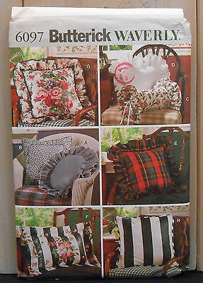 PATTERN 6097 Butterick Waverly Home Decorating Pillow Cover Round Square Sham