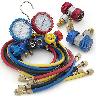 "4 Way AC Manifold Gauge Set R410a R22 R134a w/Hoses + Coupler Adapters 1/2"" ACME"