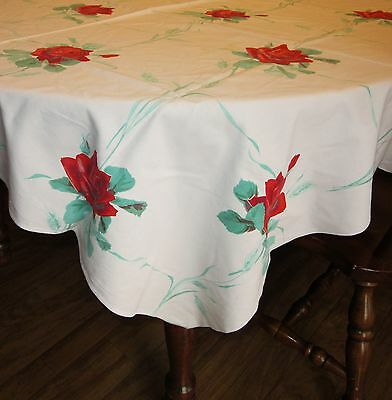 """America's Pride Red Rose Vintage Tablecloth 48"""" x 54"""" Untagged Wilendur"""