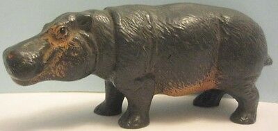 Old 1950s Waxy Plastic Hippopotamus Figure by Miller - Hippo Jungle Hunt Toy Set