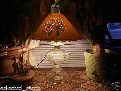 Vintage oil or electric oil lamp Shadow Shade Transformed in the 70s to do both