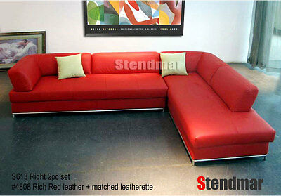 Awesome 2 Piece Modern Red Leather Sectional Sofa Set S613R Inzonedesignstudio Interior Chair Design Inzonedesignstudiocom