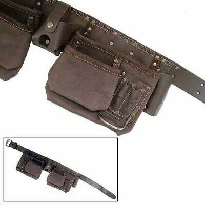 12 Pocket Heavy Duty Trade Oil Tanned Leather Tool Belt Pouch Toolbelt
