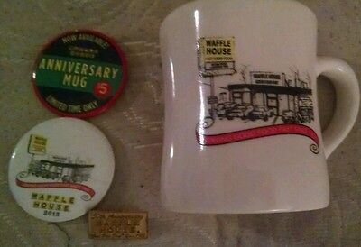 waffle house anniversary mug with matching buttons and pins