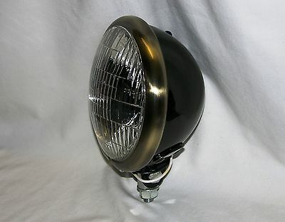 "Black Powder Coated 5-3/4"" Headlight with Antique Brass Finished Trim Ring"