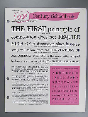 Type Specimen of Century Schoolbook, ATF
