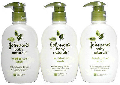 Johnson's Baby Naturals Head-to-Toe Body Wash 9 oz. Lot of 3