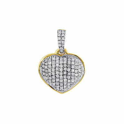14K Yellow Gold Genuine Diamond Dome Heart Pendant Necklace Pave Charm 0.18 CT.
